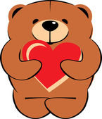 Bear with heart for valentines day — Stock Vector