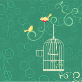 Couple of yellow birds, open cage — Vector de stock