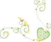 華やかな花や鳥と心 — ストックベクタ