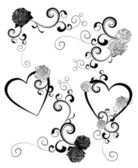 Black and white hearts and roses curves — Stock Vector