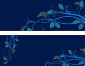 Vector blue floral banner — Stock Vector