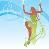 Girl on swing — Stock Vector