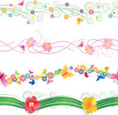Flowers and butterflies borders vector isolated on white for easter and mothers day — Stock vektor