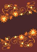 Wektor ornament pomarańczowy na brązowym tle — Wektor stockowy