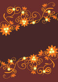 Vector orange ornament on brown background — Stock Vector