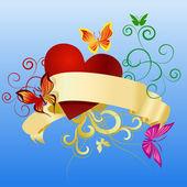 Scroll butterflies and heart — Stock Vector