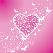 Pink curves heart with butterflies — Stock Vector