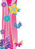 Blommor och fjärilar kort — Stockvektor