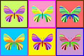 Collection of butterflies, bright color vector illustration — Stock Vector
