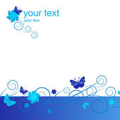 Blue butterfly border — Stock Vector