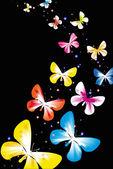 Butterflies black backdrop — Stock Vector
