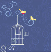 Two birds on the tree brunch in love out from cage — Stock Vector