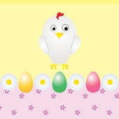 Chicken eggs and flowers greeting card — Stock Vector