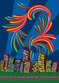City bright night vector illustration — Stock Vector