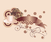 Vector brown scroll with coffee and rose on cream background — Stock Vector