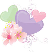 Vector color hearts and pink flowers pastel illustration — Διανυσματικό Αρχείο
