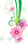 Green vector spring illustration with pink cosmos flower — Stock Vector