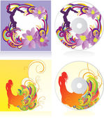 Colorful vector girls disc covers — Stock Vector