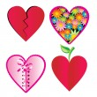 Vector set of different hearts images — Stock Vector