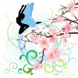Fairy with blue wings on background with flourishes and pink flowers blossom tree branch vector — Stock Vector