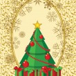 Abstract christmas tree card with golden oval decorated with snowflakes and ornament - Stock Vector