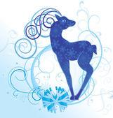Niebieski wektor boże narodzenie jelenia z kwitnie ilustracja koła i płatki śniegu — Wektor stockowy