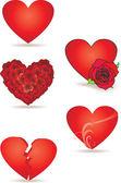 Red vector hearts set — Stock Vector