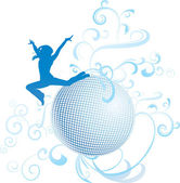 Disco woman dance in blue light — Vector de stock