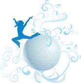 Dança de discoteca mulher em luz azul — Vetorial Stock