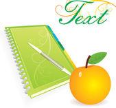 Πράσινη πινελιά με το στυλό και το κίτρινο μήλο — Διανυσματικό Αρχείο
