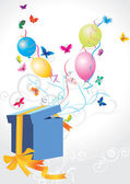 Open explore gift with balloons and butterflies vector background — Vettoriale Stock