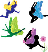 Color fairies vector set — Stock Vector