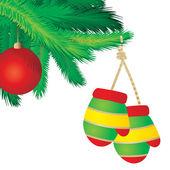 рождественская елка ветви границы над белой — Cтоковый вектор
