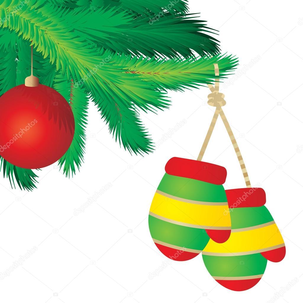 圣诞节树树枝边框接管白