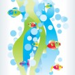 Color fish bright waves vector — Imagen vectorial