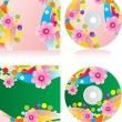 Disc covers set with waves and flowers — Stock Vector