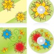 Disc covers set with waves and flowers — Imagen vectorial