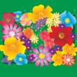 Different vector flowers bouqet — Stock Vector