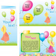 Royalty-Free Stock Vector: Happy children with colorful air balloons. Fold Brochure Template