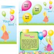 Royalty-Free Stock Imagem Vetorial: Happy children with colorful air balloons. Fold Brochure Template