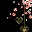 Black backdrop with golden ornate hearts and red-white decor circles — ベクター素材ストック