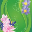 Green vector summer banner with flowers - Stockvectorbeeld