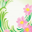 Vector flower green banner on white backdrop — Stock Vector