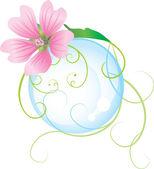 Růžový květ a bublina — Stock vektor