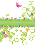 Summer banner green with butterflies and flowers — Stock Vector