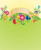 Vektor nápis s motýly a květiny — Stock vektor