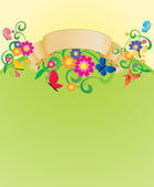 Banner vector con mariposas y flores — Vector de stock