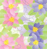 Ilustrações de vetores de flores cor de rosa e azuis — Vetor de Stock