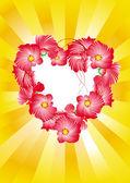 Heart flowers spark — Stock Vector