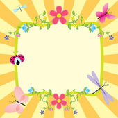 Cartoon frame summer or spring easter — Stock Vector